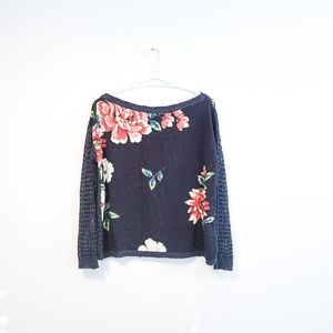 ANTHRO FARM RIO Floral Sweater in Black Blue Small